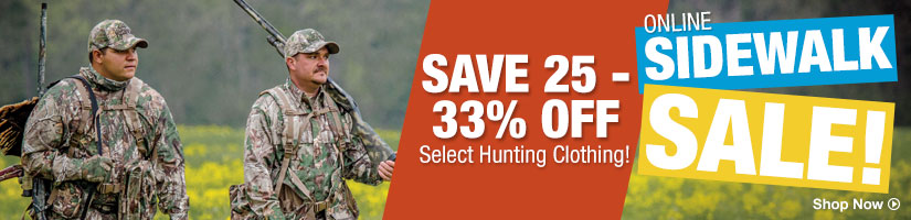 Online Sidewalk Sale! Save 25 - 30% Off Select Hunting Clothing - Shop Now
