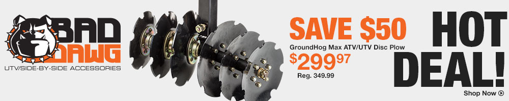 GroundHog Max ATV/UTV Disc Plow - Save $50 - Shop Now