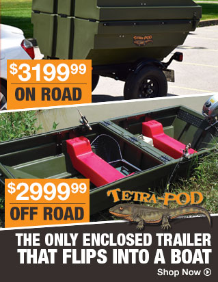 The Only Enclosed Trailer that Flips into a Boat - Shop Now