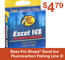 Bass pro shops excel ice fluorocarbon fishing line shop now for Bass pro shop fishing line