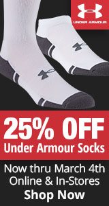 25% Off Under Armour Socks - Now Thru March 4th - Shop Now
