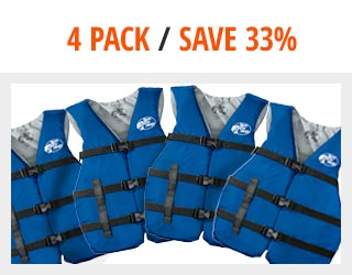 Bass Pro Shops Adult Universal Life Vest — 4-Pack $39.97