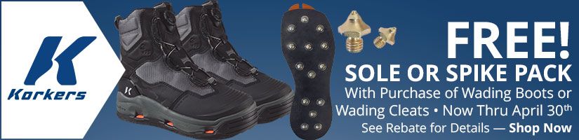 Korkers - Free Sole or Spike Pack With Purchase of Wading Boots or Cleats - Shop Now