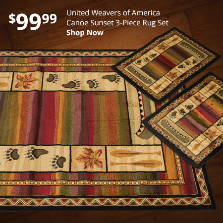 United Weavers of America Canoe Sunset 3-Piece Rug Set