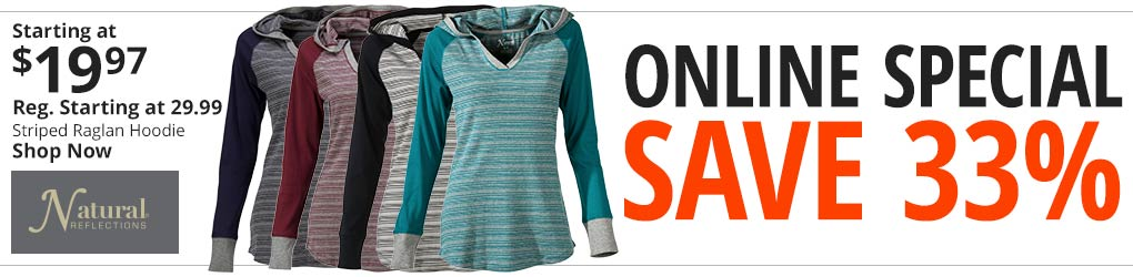 Online Special - Save 33% On Natural Reflections Striped Raglan Hoodie