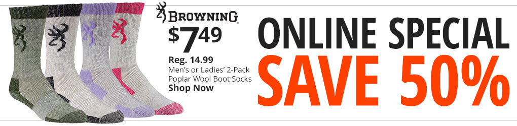 Online Special. Save 50% On Browning Men's or Ladies' Wool Boot Socks. Shop Now