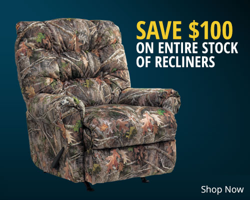 Save $100 on Entire Stock of Recliners