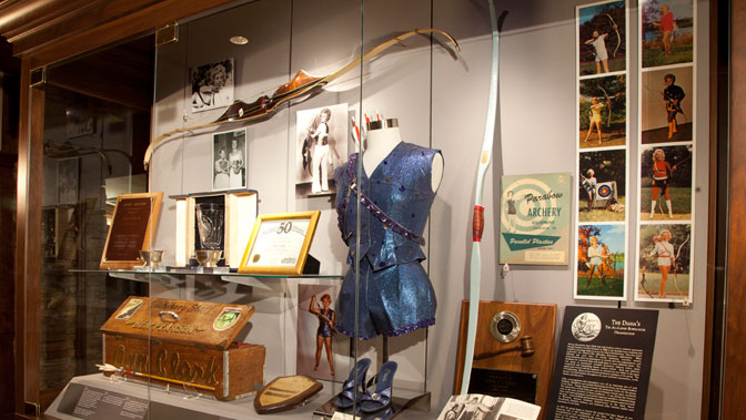 The display of Ann Clark, who has been a lifelong promoter of archery.