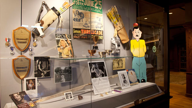 Ann Marston's display at the Archery Hall of Fame.