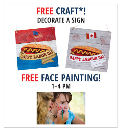 FREE sign craft and face paint