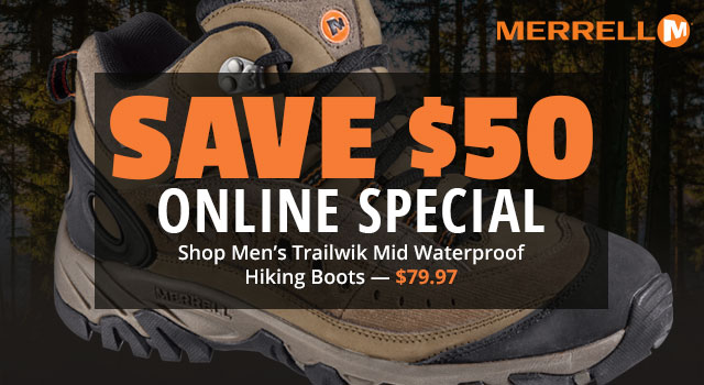Online Special, Save 50% on Men's Merrell Trailwik Mid Waterproof Hiking Boots