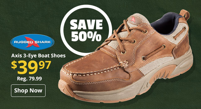 Save 50% on Rugged Shark Axis 3-Eye Boat Shoes