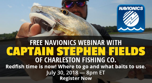 FREE Navionics Webinar with Captain Stephen Fields of Charleston Fishing Co. - More Info