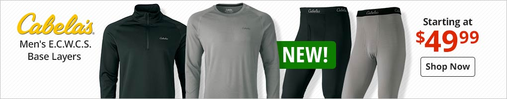 New Cabela's E.C.W.C.S. Base Layers Starting at $49.99