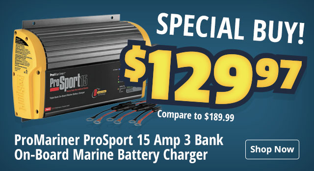 Special Buy! $129.97 (compare to $189.99) on ProMariner ProSport 15 Amp 3 Bank On-Board Marine Battery Charger - Shop Now