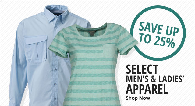 Save up to 25% on Select Men's and Women's Apparel