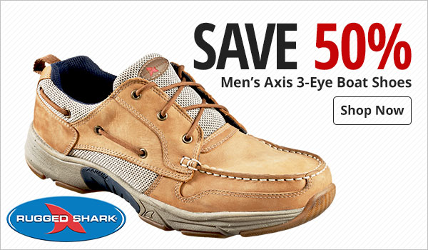 Save 50% on Men's Rugged Shark Axis 3-Eye Boat Shoes