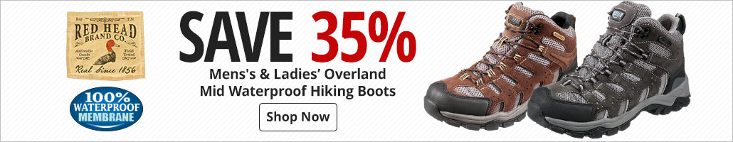 Save 35% on RedHead Mens's & Ladies Overland Mid Waterproof Hiking Boots