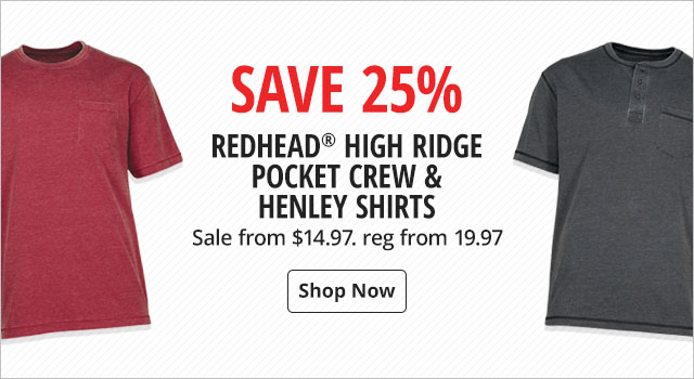 Save 25% on RedHead High Ridge Pocket Crew & Henley Shirts - Shop Now