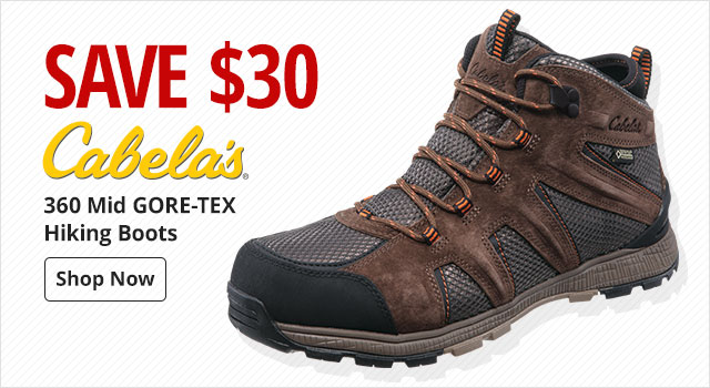 Save $30 on Cabela's 360 Mid GORE-TEX Hiking Boots
