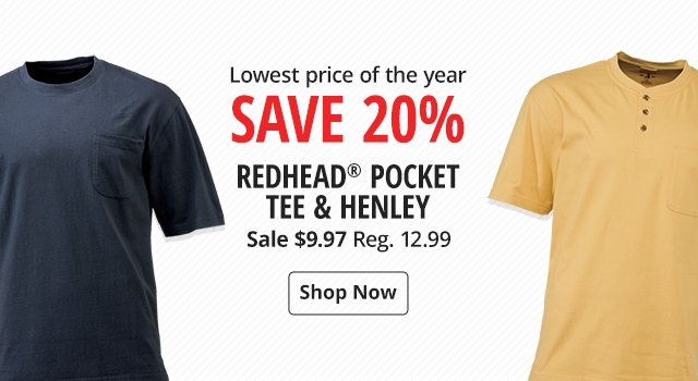 Save 20% on Redhead Pocket Tee & Henley - Shop Now