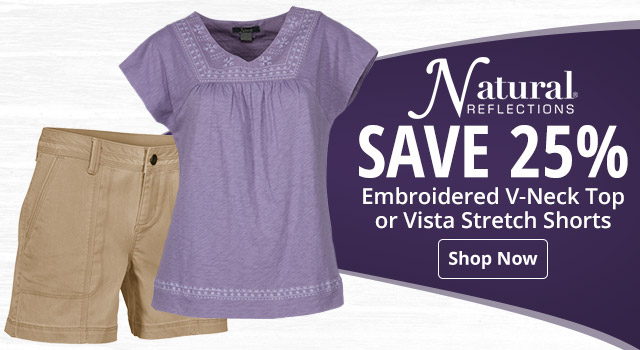 5ea54453 Natural Reflections Embroidered V-Neck Top or Vista Stretc Shorts