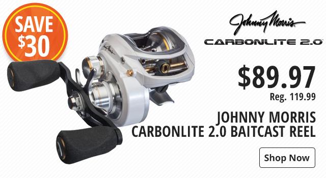 Save $30 on Bass Pro Shops Johnny Morris Carbonlite 2.0 Baitcast Reel - Shop Now