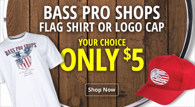 Bass Pro Shops Flag Shirt or Logo Cap - Your Choice $5