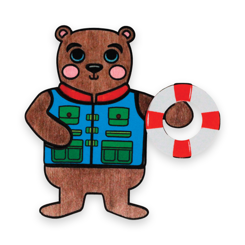 wood craft bear with life jacket and life saver