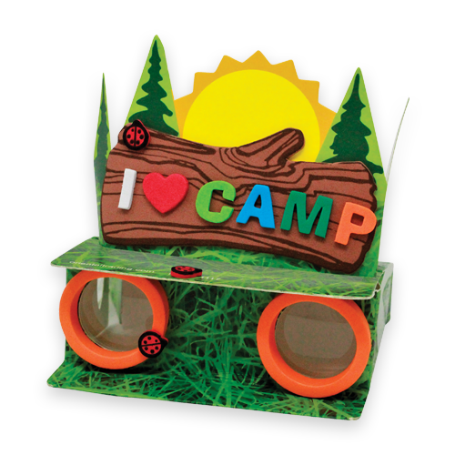 craft binoculars that says 'I Heart Camp'