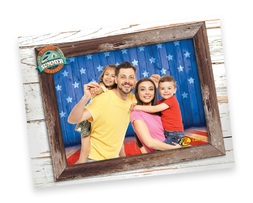 family photo with stars and stripes backdrop