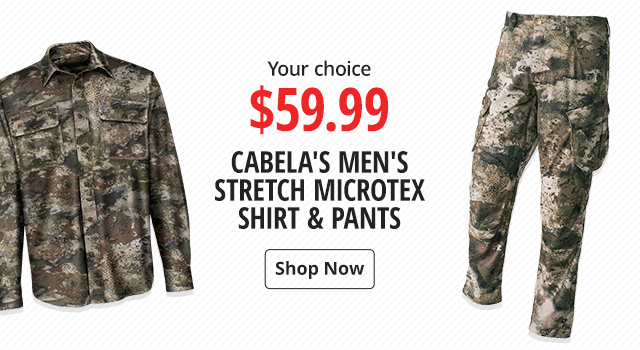 0fab1939cc Cabela's Men's Stretch Microtex Shirt & Pants Your choice $59.99 - Shop Now