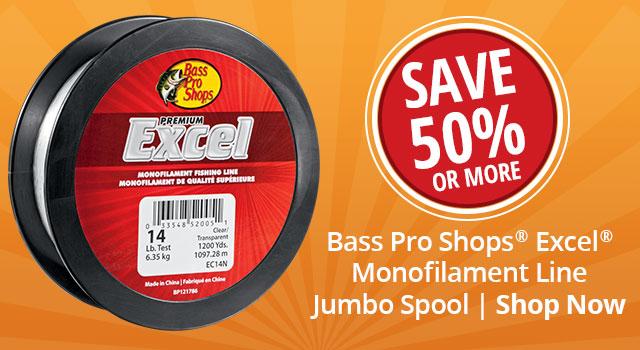b52728102e15 ... Save 50% on Bass Pro Shops Excel Monofilament Line Jumbo Spool