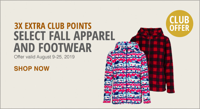 3x Extra Club Points on Select Fall Apparel and Footwear