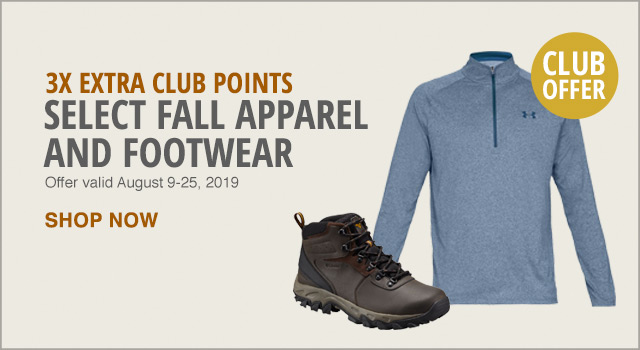 3x Extra Club Points on Select Fall Apparel and Footwear - Shop Now