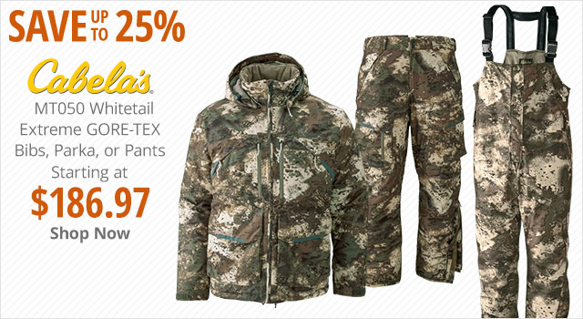 Save up to 25% on Cabela's MTO50 Whitetail Bibs, Parkas or Pants - Shop Now