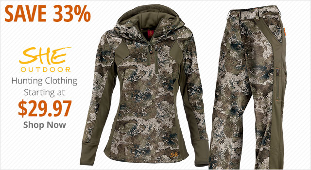 Save 33% on She Outdoor Hunting Clothing - Shop Now
