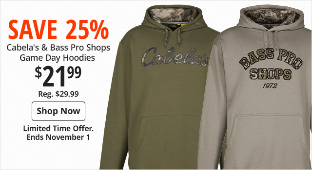 Save 25% on Cabela's & Bass Pro Shops Game Day Hoodies - Shop Now