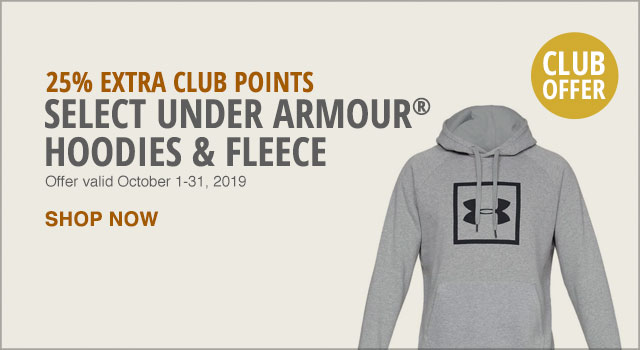 25% Extra Club Points on Select Under Armour Hoodies & Fleece - Shop Now