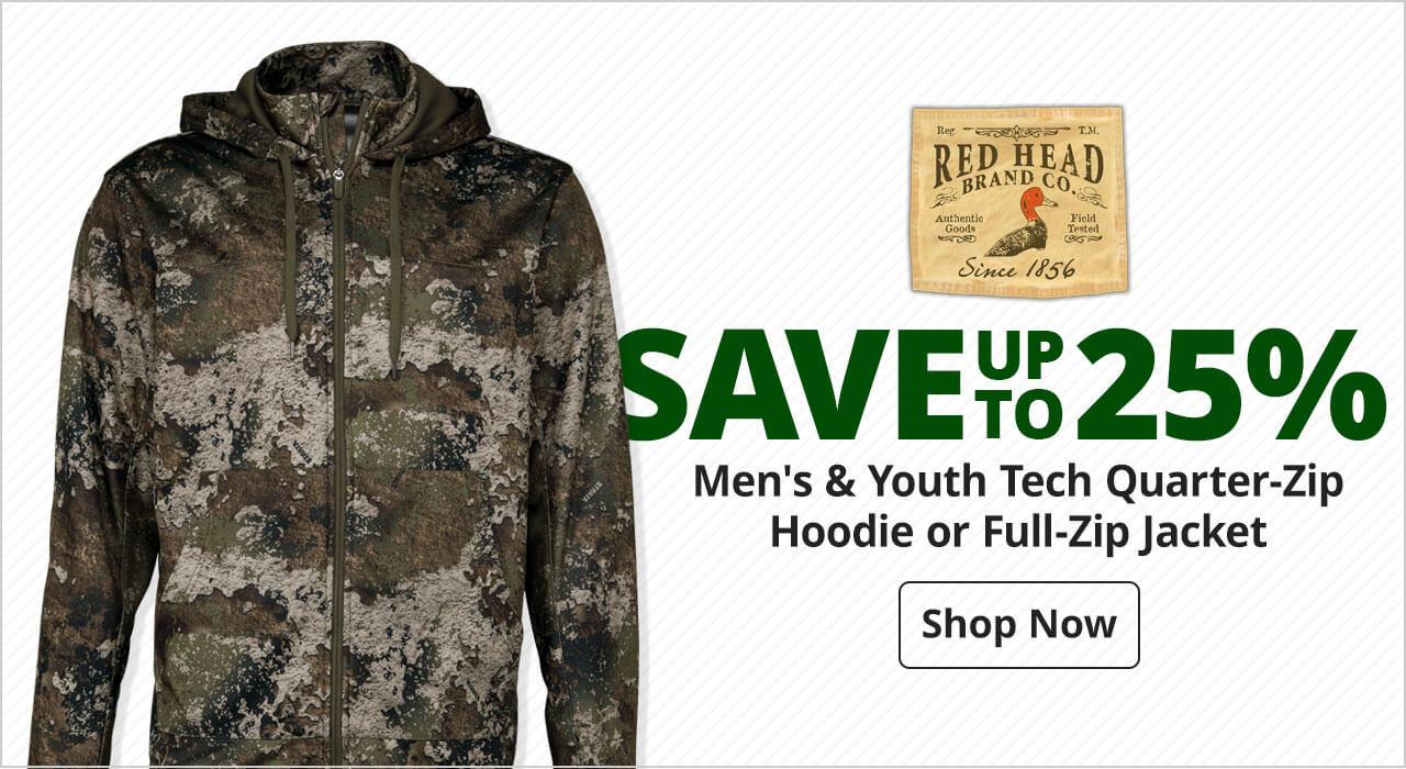 save 25% RedHead® Men's & Youth Tech Quarter-Zip Hoodie or Full-Zip Jacket - Shop Now