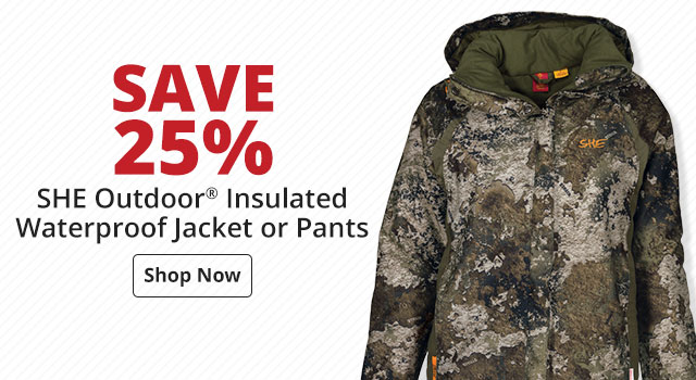 Save 25% on SHE Outdoor® Insulated Waterproof Jacket or Pants