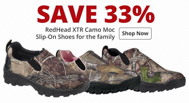 Save 33% RedHead XTR Camo Moc Slip-On Shoes for the family