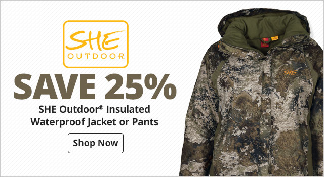 save 25% SHE Outdoor® Insulated Waterproof Jacket or Pants  - Shop Now