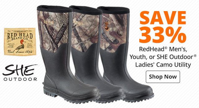 Save 33% RedHead® Men's, Youth, or SHE Outdoor® Ladies' Camo Utility Rubber Boots