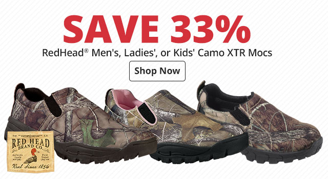 Save 33% RedHead® Men's, Ladies', or Kids' Camo XTR Mocs