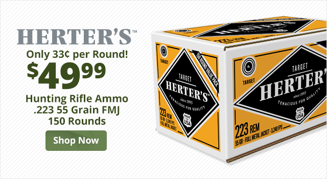 Herter's Hunting Rifle Ammo - .223 55 grain FMJ - 150 rounds - Shop Now