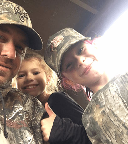 Hunting with his girls