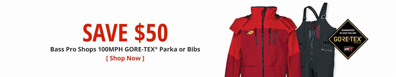Save $50 Bass Pro Shops 100MPH GORE-TEX® Parka or Bibs