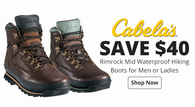 Save $40 Cabela's® Rimrock Mid Waterproof Hiking Boots for Men or Ladies