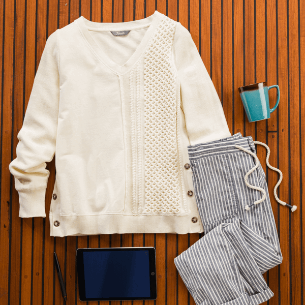 Cable Knit Sweatshirt look